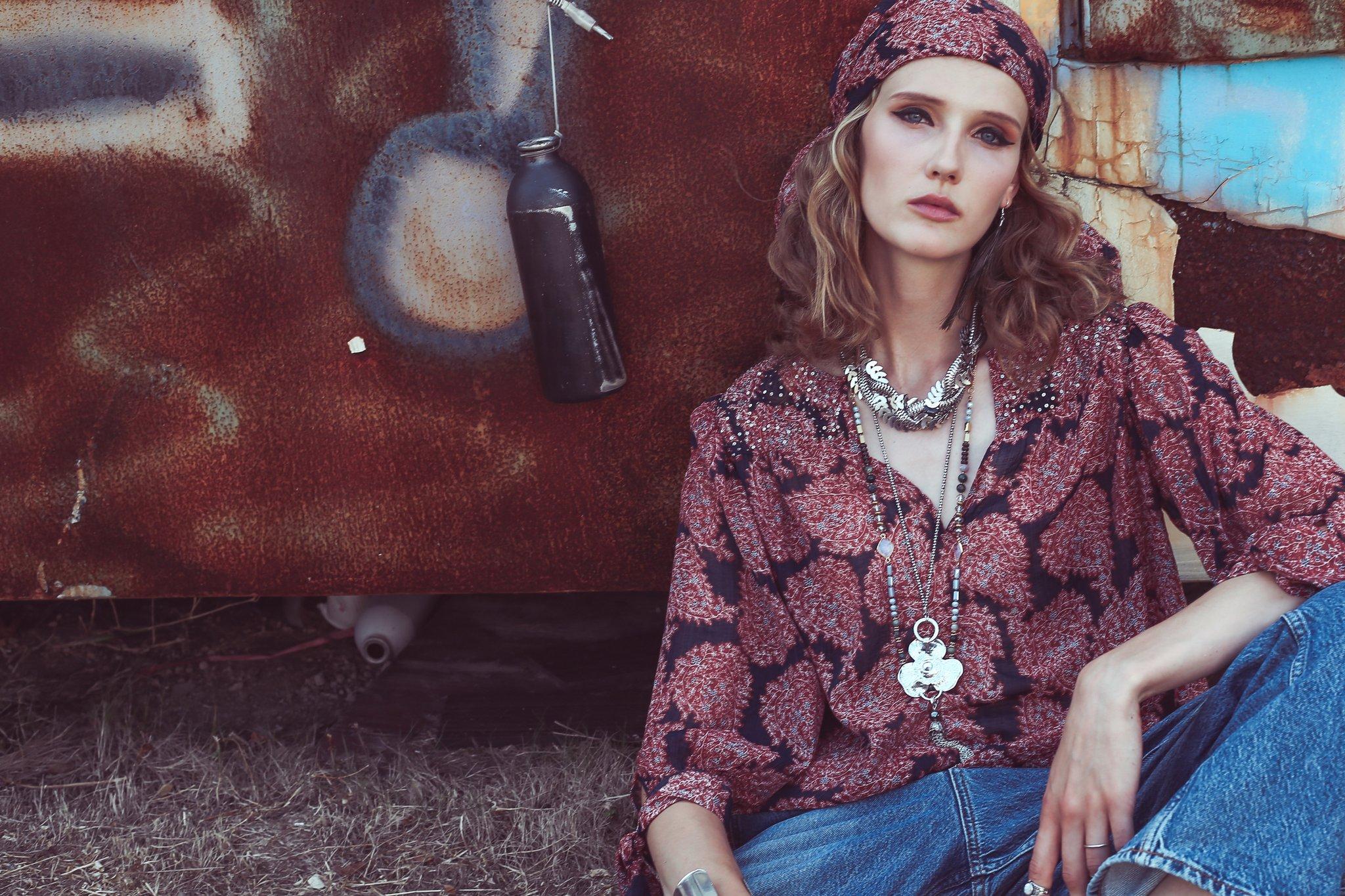model in bohemian fashion